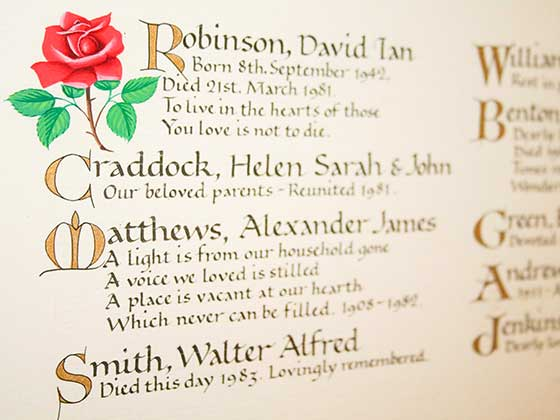 Book of Remembrance inscription with a red rose illustration