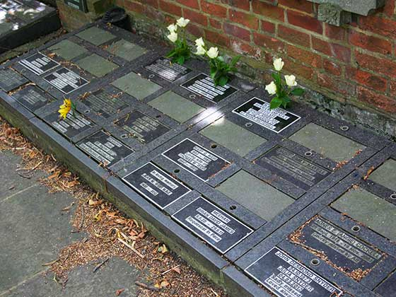 Floor Plaques in black granite at Putney Vale Crematorium