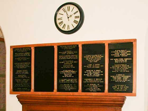 A selection of leather wall plaques at Putney Vale Crematorium
