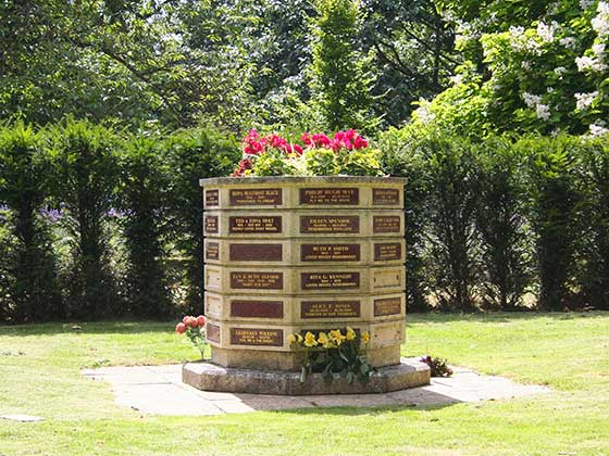 Memorial Planter with red granite plaques