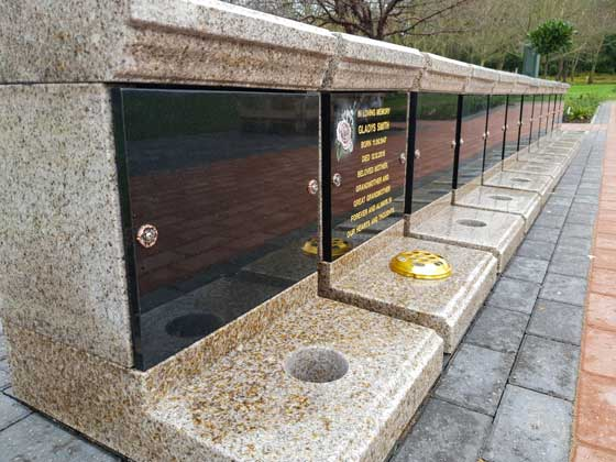 A row of Memorial Sanctum's with gold letter inscription